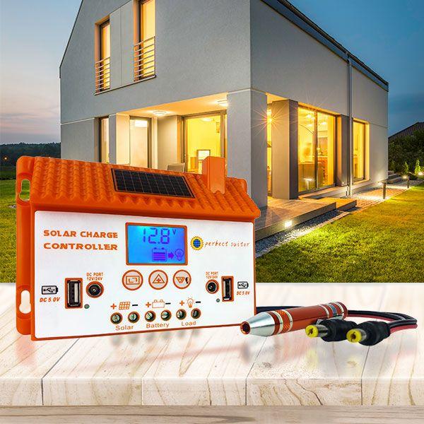 CONTROLADOR DE CARGA SOLAR V PWM 12V/24V 10A PARTE USB, PANTALLA LED