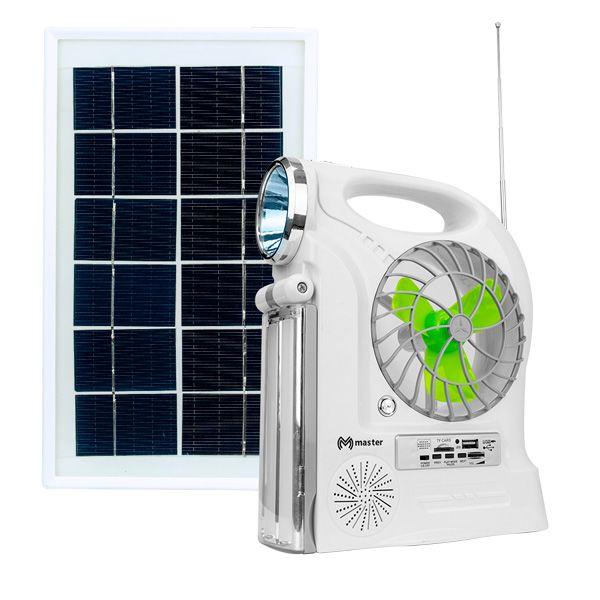 KIT SOLAR CON VENTILADOR CON MODULO RECARGABLE CON LAMPARA DE MANO, EMERGENCIA Y 3 FOCOS LED, USB, MICRO SD Y RADIO FM, SALIDA USB PARA CARGA DE DISPOSITIVOS