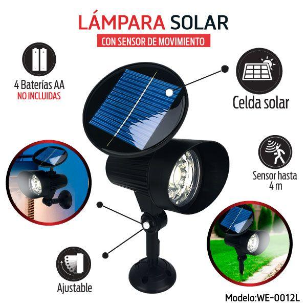 LAMPARA SOLAR CON SENSOR DE MOVIMIENTO.